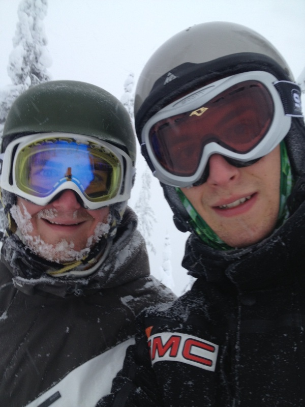 Mitch & Myles skiing at Big White, Kelowna, BC.